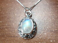 Moonstone with Intricate Floral Accents 925 Sterling Silver Pendant