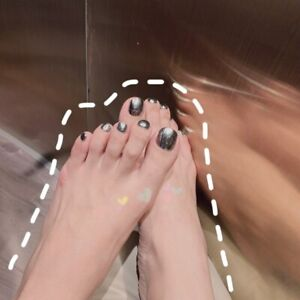 24Pcs Mirror Silver Toe Nails Rose Powder Metal False Nails Patchs Foot Patchs