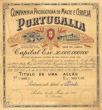Portugal 1946 Beer Productora Malte Cerveja Portugalia 1 share Deco Esc. 500$00