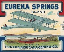 "RARE OLD 1920 LITHO ""EUREKA SPRINGS BRAND"" TOMATOE LABEL EUREKA SPRINGS ARKANSAS"