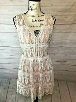 LUCCA White Lace Short Mini Dress  A-Line Nude Lining Festival BOHO SIze Large