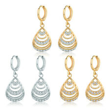 HUCHE Hollow Shell Style Diamond Crystal Gold Filled Women Hoop Dangle Earrings