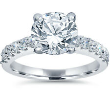 F/G-SI 2ct Diamond Engagement Ring Solitaire W/ Accents 14K White Gold Enhanced