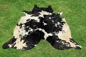 Cowhide Rugs Black Real Hair on Cow Hide Skin Area Rug Leather Rug 5 x 5 ft