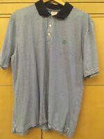 Brooks Brothers Men's Large Blue White Striped Polo Golf Tennis Shirt Cotton