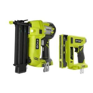 RYOBI Brad Nailer Cordless Compression Drive 3/8 in. Crown Stapler (Tools Only)