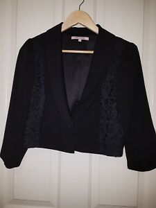 REVIEW Black Jacket with Lace Front Size 14Cropped Lace Bolero Formal
