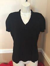 Women's - Notations - Blouse - Sz L - Short Sleeve - Black - (V-neck) - Dressy