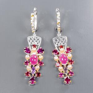 Wholesale jewelry Art Ruby Earrings Silver 925 Sterling   /E58134