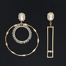 SE129 Round Rectangle Large Unbalanced Drop Dangle Earrings Rhinestone