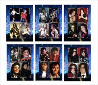 2012 MICHAEL JACKSON 6 SOUVENIR SHEETS MNH IMPERFORATED music