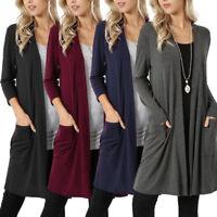 Women's Cardigan Duster  Long Sleeve Sweater Jumpers  Coat Jacket Plus Size 5XL