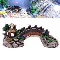 Aquarium Fish Tank Resin Bridge Landscape Ornaments Pavilion Tree Decor
