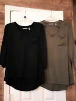 Lisa Rinna Collection TWO Black and Green Top 3/4 Sleeve V-Neck Pocket, Size  XS