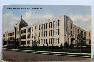 Virginia VA Richmond Thomas Jefferson High School JHS Postcard Old Vintage Card