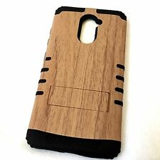 For ZTE Kirk / Imperial MAX Z988 HARD&SOFT RUBBER HYBRID BROWN PLASTIC WOOD CASE