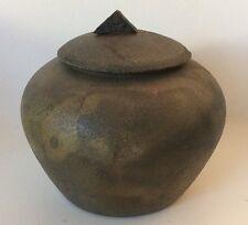 """Vtg Jon Oakes Raku Ceramic Pottery Covered Jar Pot 4 1/2"""""""