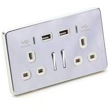 Wall Plug Socket with USB 2 Way 13A Tablet Phone Charger Chrome with White