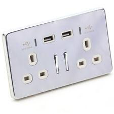 Prise Murale Prise Avec USB 2 Way 13 A Tablette Téléphone Chargeur Chrome Avec Blanc