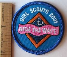 """Girl Scout 2001 COOKIE SALES PATCH """"Ride The Wave"""" Surfing Selling Badge NEW"""