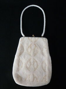 Vintage RICHERE Hand Made JAPAN Ivory & White Beaded Evening Bag Purse