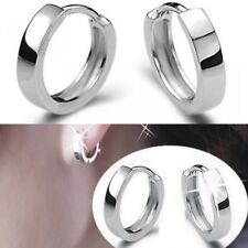 Womens Mens Small Round Huggie Hoop Fashion Earrings 925 Sterling Silver Plated
