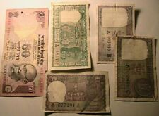 1950s-1970s India Lot Banknotes Paper Money (3) 1 Rupee, 5, 50 Rupees Currency