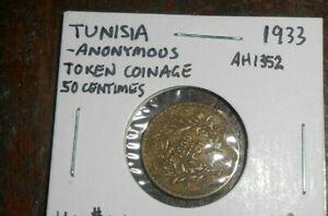 TUNISIA 1933 50 CENTINMOS COIN