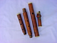 EARLY 19TH C 1820S BOXWOOD FLUTE WILLIAM A POND NEW YORK GERMAN SILVER ONE KEY