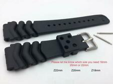 20mm Fits SEIKO Divers Heavy Black Rubber Watch Band Strap w/ 2 Pins