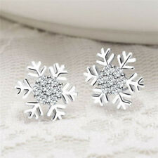 Silver Stud Earrings Star Snowflake Rhinestone Crystal Christmas Party Jewelry