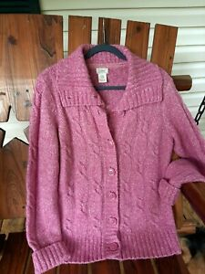 Women's L.L. Bean Pink Wool Blend Cable Knit Button Cardigan Sweater Size Large