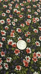 Rayon Challis Fabric By The Yard Pink Small Flowers Floral Green Leaves Purple