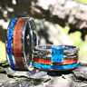 Couples His Her 3 piece Wedding Band Set Opal Koa Wood Steel Silver Engagement