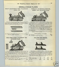 1904 PAPER AD 2 Sided Traut's Adjustable Stanley Universal Fancy Plane