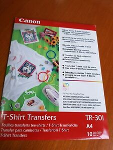 Canon TR-302 A4 T-Shirt Transfers,10 Sheets,New