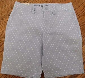 NWT Gap Women's Khaki City Shorts Blue/White Sizes 0 2 4 MSRP$40 Free Ship New