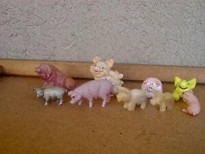 Vintage Lot of 9 Miniature Mini Pigs Pewter, Pottery, Porcelain, Agate, Resin