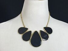 Black & Gold  Chunky Statement Bib Necklace Gold Tone