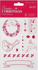 Papermania clear stamp set of 11 Create Christmas Reindeer stars holly wreath