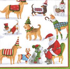 4 X SINGOLO CARTA TAVOLA tovagliolo/Decoupage/Scrapbooking/Natale Cani/Babbo Natale