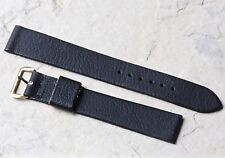 Long 18mm thin matte black leather 1950s/60s vintage watch band with gold buckle
