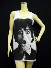 BILLIE JOE ARMSTRONG Tank Top, Green Day PUNK ROCK, White SINGLET Mini Dress NEW
