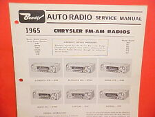 1965 CHRYSLER IMPERIAL 300 L DODGE PLYMOUTH BENDIX AM-FM RADIO SERVICE MANUAL 65