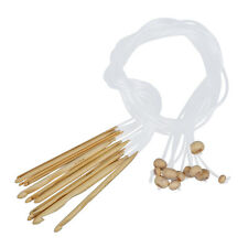 12 Sizes Crochet Needles Bleached Bamboo Afghan Tunisian 3,0-10,0 mm H6D1