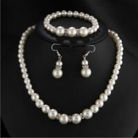 3x Novel Women Bridal Pearl Necklace Earrings Bracelets Party Jewelry Decals HS