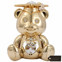 Matashi 24K Gold Plated Graduation Bear w/ Crystal Home Decor Gift for Christmas