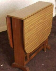 Vintage , Retro Drop Leaf Table , Kitchen , Teak  Formica ,solid Wood Frame
