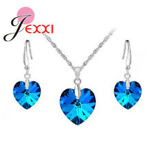 925 Sterling Silver Very Dark Blue CZ Heart Crystal Necklace And Earring Set UK