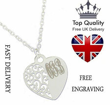 Silver Filigree Heart Pendant Personalised Engraved Monogram initials name